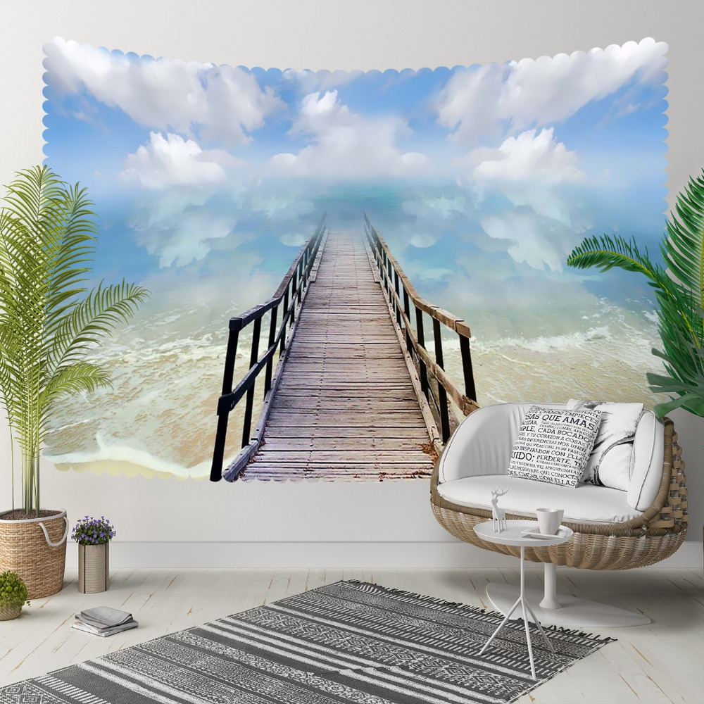 Autre Tropical bleu mer gris pont blanc vagues 3D imprimer décoratif Hippi bohème tenture murale paysage tapisserie mur Art