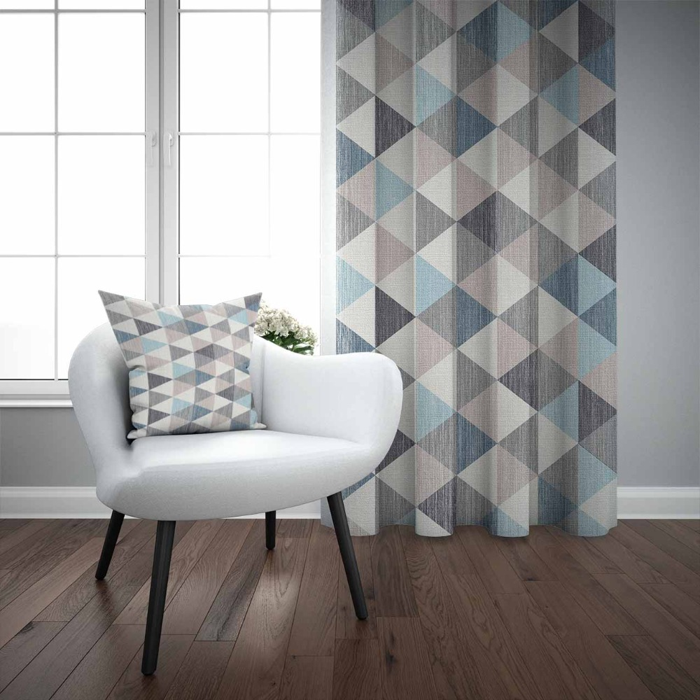 Else Brown Gray Blue Ethnic Triangle Geometric Nordec 3D Print Living Room Bedroom Window Panel Curtain Combine Gift Pillow Case