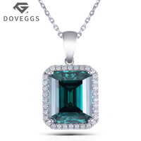 DOVEGGS 14K 585 White Gold 10X12mm Green Emerald Moissanite Accents Halo Pendant Necklace With 18 14K White Gold Chain