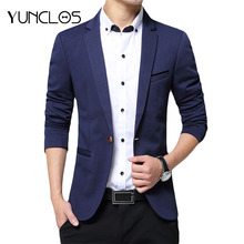 YUNCLOS 2019 New One Button Blazer for Men Casual Slim Fit Jackets High Quality Solid Color Business Men Blazer Jackets