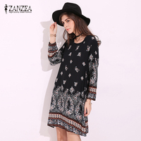 ZANZEA Womens Boho Floral Print O Neck Long Sleeve Casual Loose MIni Dress Sexy Ladies Party