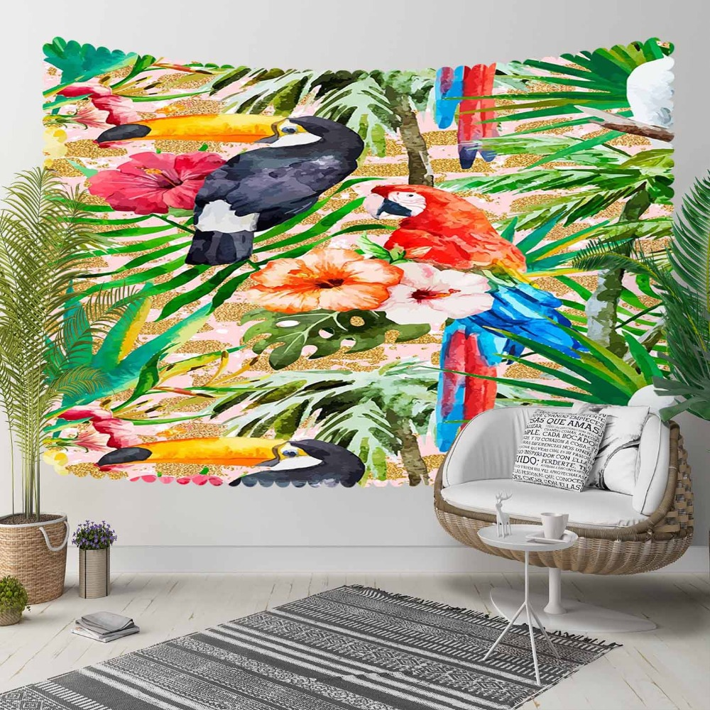 Else Tropical Green Jungle Leaves Red Blue Parrots 3D Print Decorative Hippi Bohemian Wall Hanging Landscape Tapestry Wall Art