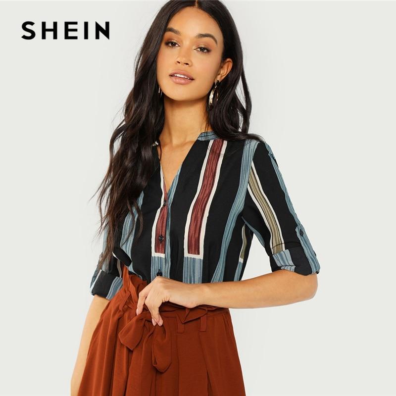 SHEIN algodón Multicolor cuello en V camisa a rayas Casual Roll Up manga botón Placket blusa mujeres otoño Elegante ropa de trabajo Tops