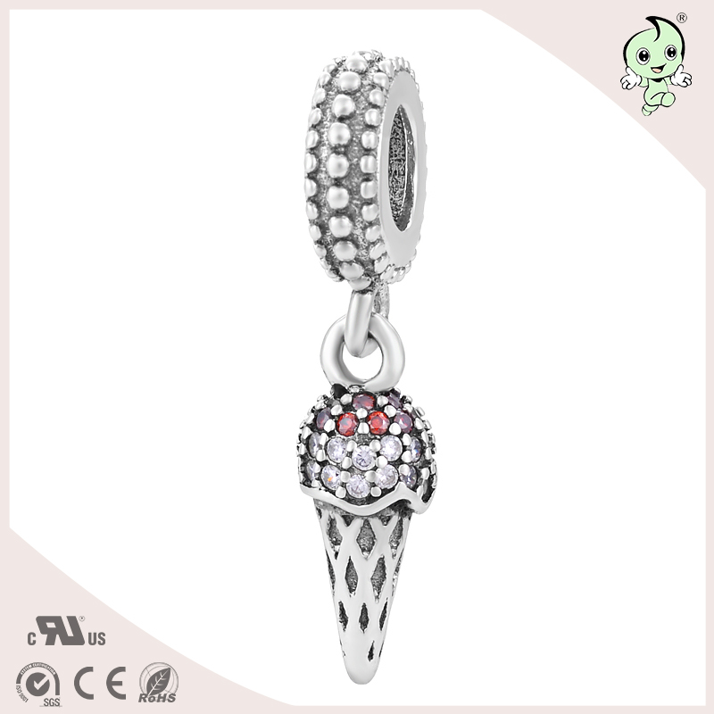 Sweet Food Ice Cream Design Pave Zircon S925 Sterling Silver Womens Charm