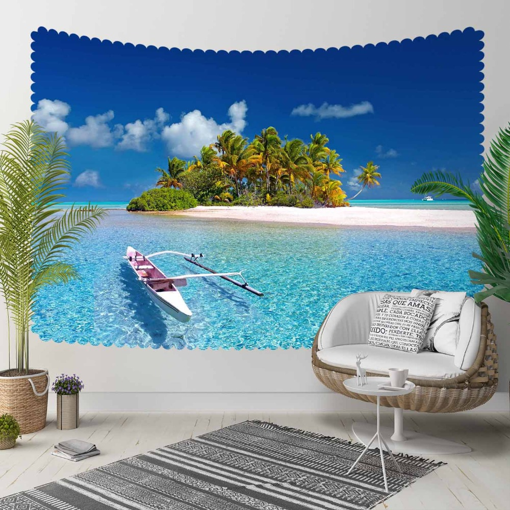 Else Tropical Blue Sea Green Trees Island Ships 3D Print Decorative Hippi Bohemian Wall Hanging Landscape Tapestry Wall Art
