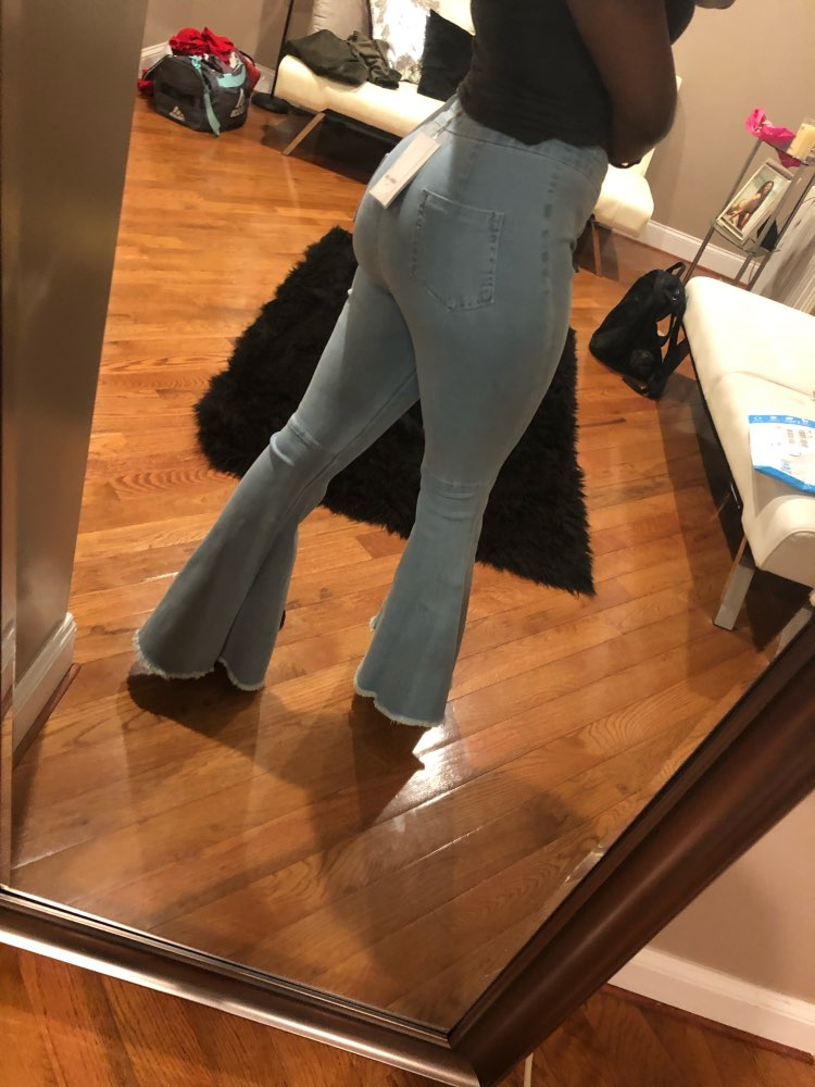 Sexy Stretching High Waist Flare Women Jeans Fashion Bell Bottom Blue Skinny Denim Autumn Jeans Retro Women Pants Trousers photo review
