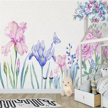 Hand-painted orchid flower butterfly background wall custom large wallpaper mural 3D photo factory wholesale