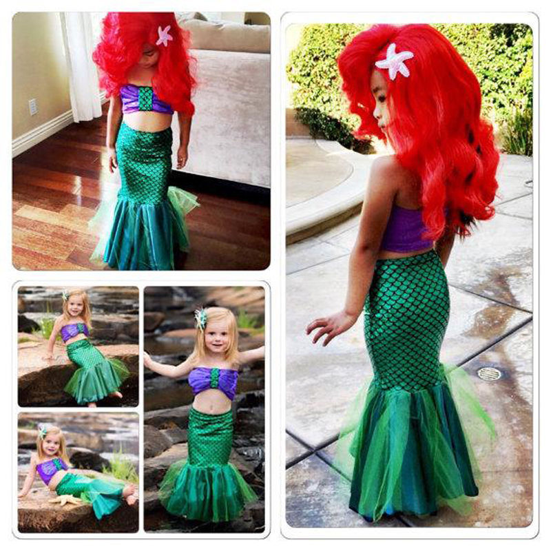 3pcs/set Mermaid Tail Princess Ariel Dress Skirt For Girls Children Mermaid Performance Costume Cosplay Swimsuits For Kids C026 Mother & Kids