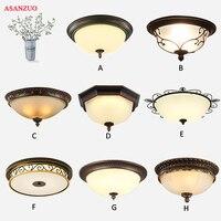 American Retro octagonal ceiling lamp with glass lampshade European balcony lamp corridor aisle entrance hall E27 Lamp Fixtures