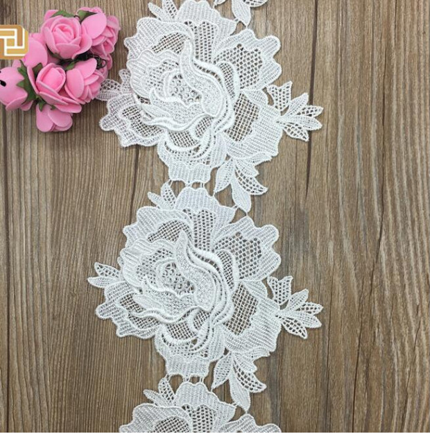 1 Yard Hot Sale Embroidered Lace Fabric Accessories 13cm Width Double Layers Large Flower Black White Lace Trim in Lace from Home Garden
