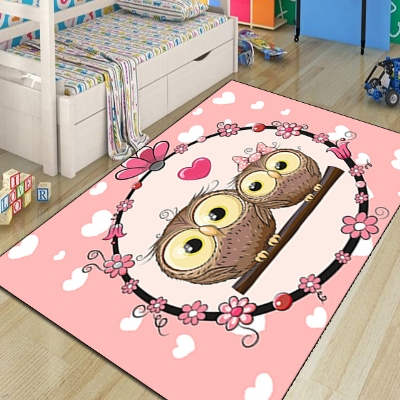 Else Pink Floor White Red Hearts Brown Owls Girl 3d Print Non Slip Microfiber Children Kids Room Decorative Area Rug Kids  Mat