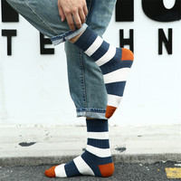 FHJDAI Men Socks Men S Elite Casual Business Sock Color Stripes Thick Stockings Warm Calcetines Hombre
