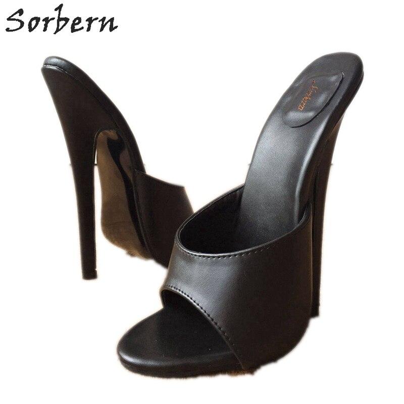Sorbern, 18 см, сексуальные женские шлепанцы на высоком каблуке, унисекс, с открытым носком, стилеты, фетиш, тапки шлепанцы, черные, матовые