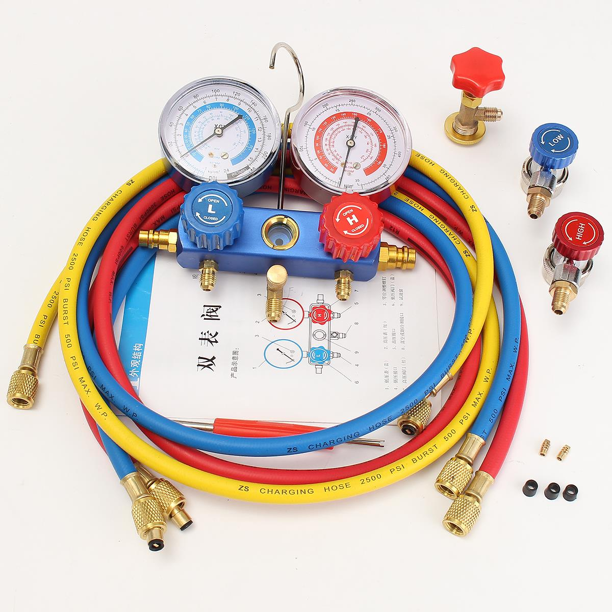 лучшая цена HVAC A/C Refrigeration Kit Manifold Gauge Set R22 R12 R134A Auto Refrigerant H/L Durable Quality