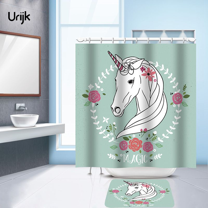 Urijk 1PC Unicorn Printed Shower Curtain Waterproof Mildewproof Polyester Curtains for Bathroom Fabric Cortina with 12 Hooks