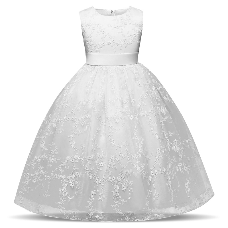 Kids Girls Embroidered Flower Formal Party Ball Gown Prom Princess Bridesmaid Wedding Children First Communion Tutu Dress 4-10y new flower girls party dress embroidered formal bridesmaid wedding girl christmas princess ball gown kids vestido