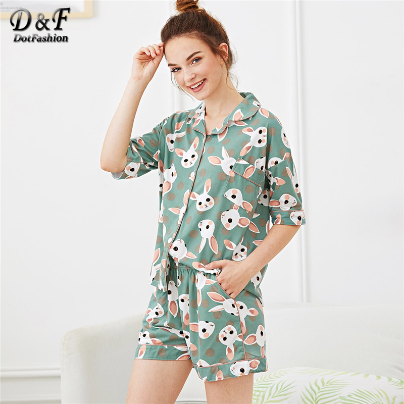 Dotfashion Button Pocket Rabbit Print Polka Dot   Pajama     Sets   Summer Casual Ladies Turn-down Collar Green Short Sleeve Nightwear