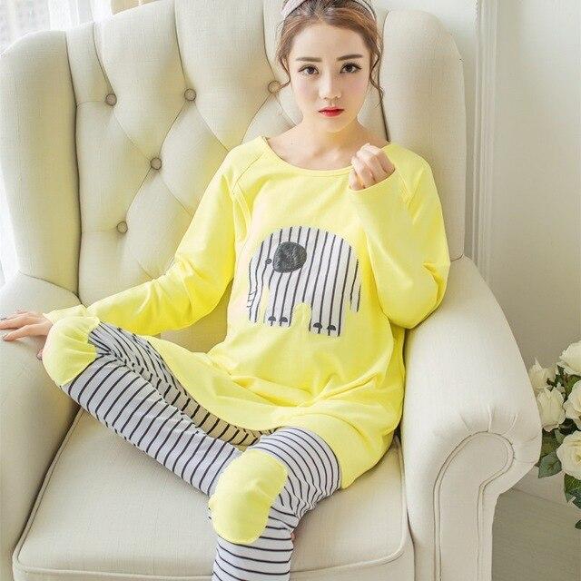 2pcs Sets Fashion Maternity Clothes Cartoon Maternity Sleepwear Breastfeeding Nursing Pajamas for Pregnant Women WUA1705055