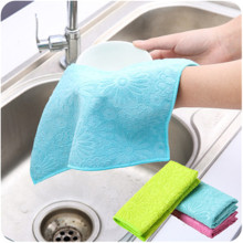 Cleaning supplies dishcloth water absorbent wool thickening washing dishcloth polychromatic locking edge no oil dishwash(China)