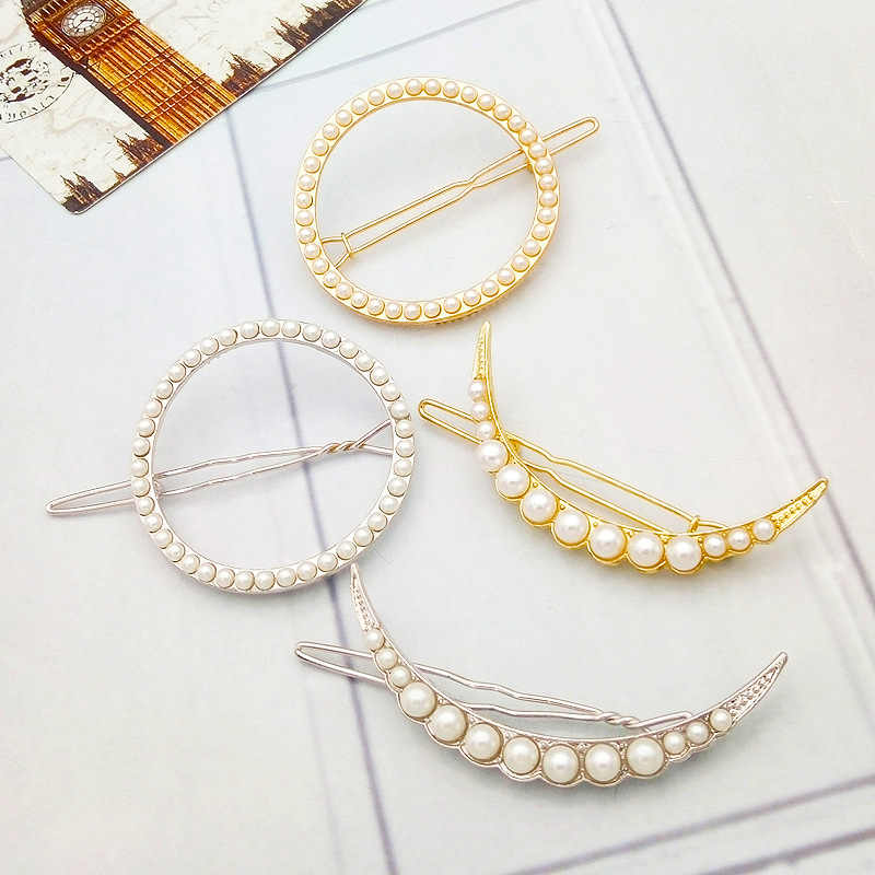HOT Fashion Elegant Women pearl Gold Silver Geometry Hairpin Hair Clip Barrettes Christmas Party Vaction Hair Accessories