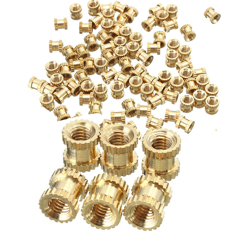 MTGATHER 100Pcs Brass Golden Threaded Round Metal Knurl Thread Brass Insert Nuts Tone M3x5x5mm two tone lace insert blouse