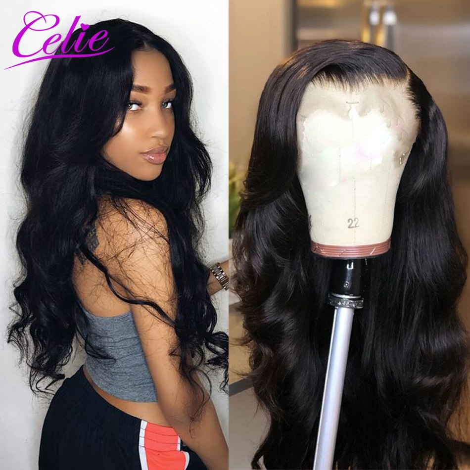 Celie Hair Lace Front Human Hair Wigs 13x4 Pre Plucked Lace Front Wig With Baby Hair Remy Hair Brazilian Body Wave Lace Wig(China)