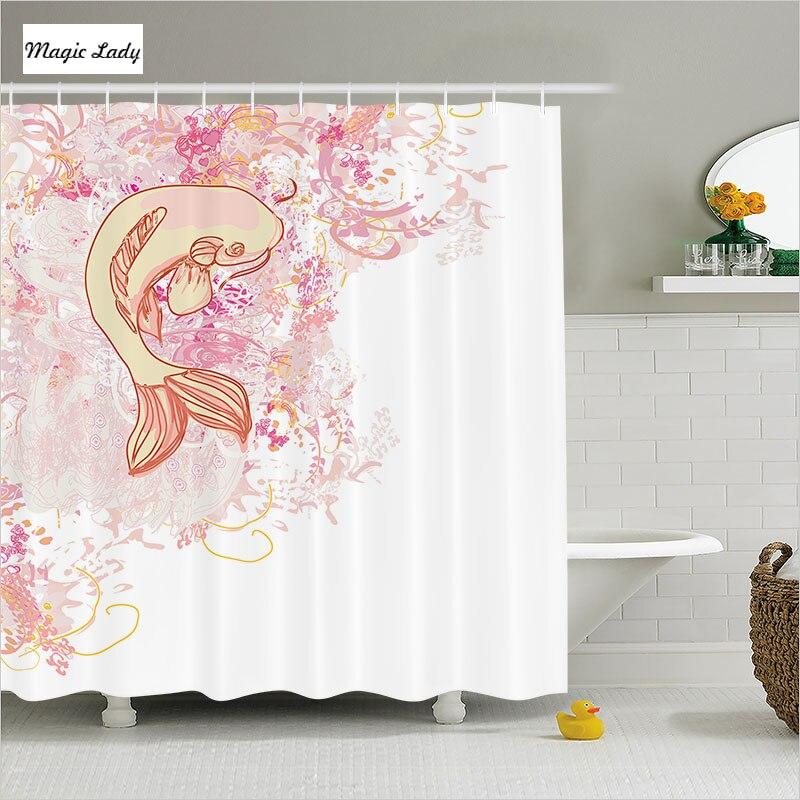 Fish Shower Curtain Fabric Zen Bathroom Accessories Asian Classic ...