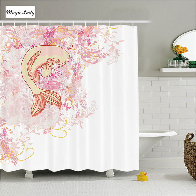 Fish Shower Curtain Fabric Zen Bathroom Accessories Asian Classic Splashed Love Exotic Pink Yellow 180200 Cm