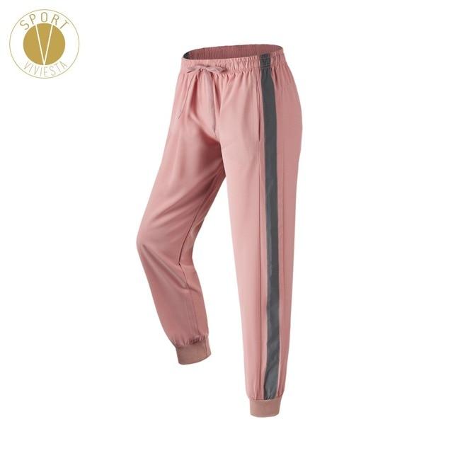 Drawcord Reflective Stripe Jogger Pants Women's Jogging Running Gym Travel Active Sport Skinny Sweat Track Pants Sweatpants