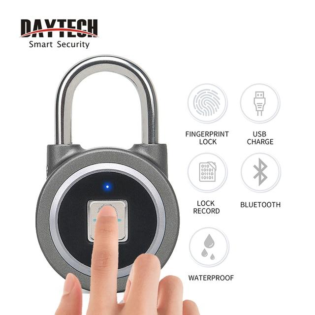 Candado de huella digital Bluetooth, cerradura eléctrica inteligente para puerta, casillero, batería recargable, antirrobo, seguridad para casa (L01)
