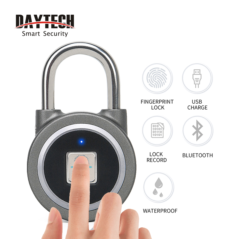 DAYTECH Fingerprint Padlock Bluetooth Smart Electric Door Lock Locker Rechargeable Battery Anti-Theft Security For House/Gym Box
