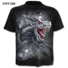 YFFUSHI 2018 Male 3d T shirt Hot Sale Dragon Print Summer Cool Hip Hop Tees Plus Size S-5XL Black Men