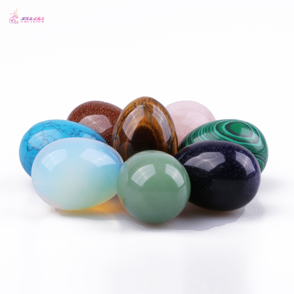 HIMABM 1 Pack Mixed Colour Undrilled Jade Egg For Kegel Exercise Chakra Massage Pelvic Floor Muscles
