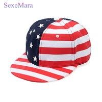 New American Flag Snapback Hats Brand USA Letter Cotton Gorras Hip Hop Color Stripes Unisex Caps