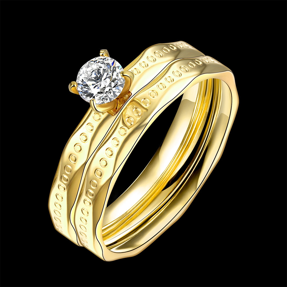 Lureme Two Lines Golden Plated Stainless Steel Dots Uneven Edges Big Zircon Womens Girls Ring Anillos Mujer (04001574)