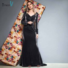 Dressv evening dress v neck long sleeves pleats floor length mermaid wedding party formal dress trumpet evening dresses