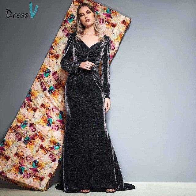 Vestido de noche Dressv de manga larga con escote en v, hasta el suelo plisado, corte sirena, vestido formal de fiesta y trompeta, vestidos de noche