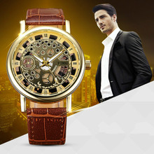2018 Skeleton Watch Men Top Brand Luxury Famous Gold Male Cl