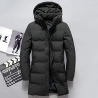 2018 Fashion Men Down Jacket 70% Duck Down Winter Thick Long Down Coat Fashion Hooded Long Down Overcoat Male Outerwear JK 8905