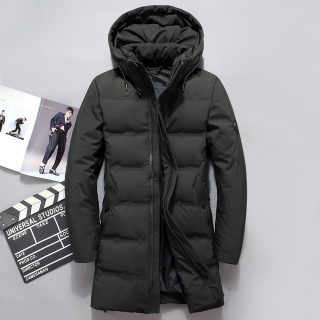 6a8eda269f01 2018 Fashion Men Down Jacket 70% Duck Down Winter Thick Long Down Coat  Fashion Hooded Long Down Overcoat Male Outerwear JK-8905
