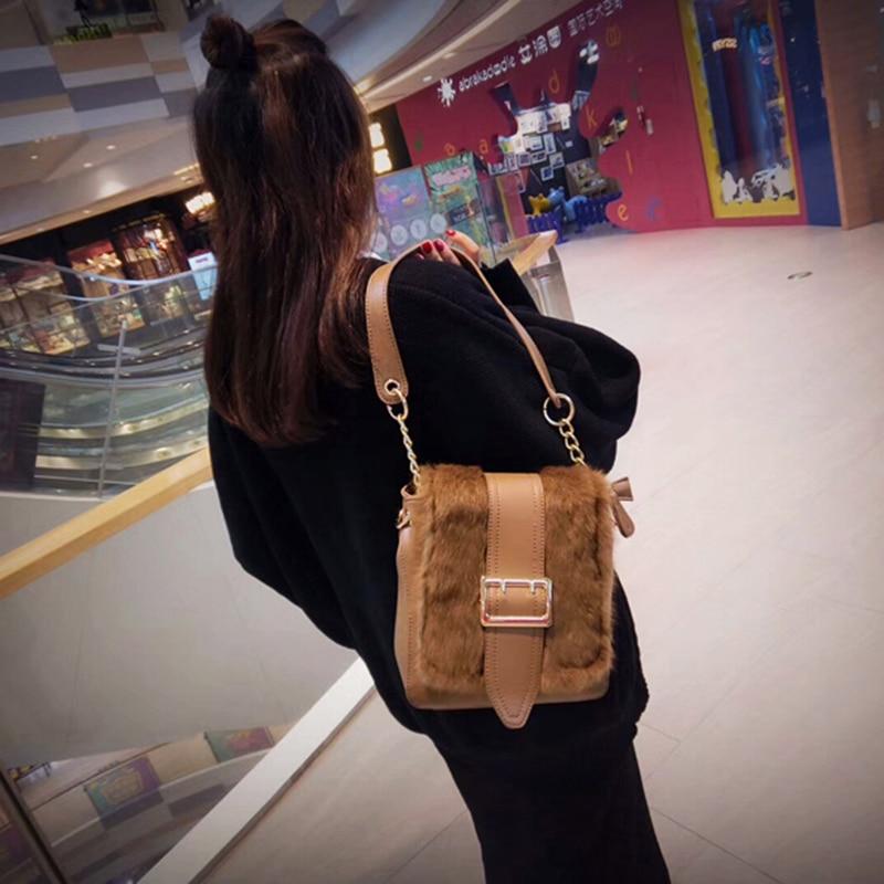 2018 new female bag purse plush generous buckle chain handbag suede shoulder Messenger Bag round buckle lunch box bucket bag female 2018 new fashion messenger female shoulder bag