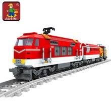 AUSINI 58City Series Train with Tracks Building Blocks Railroad Conveyance Kids Model Bricks Toys brinquedos for children