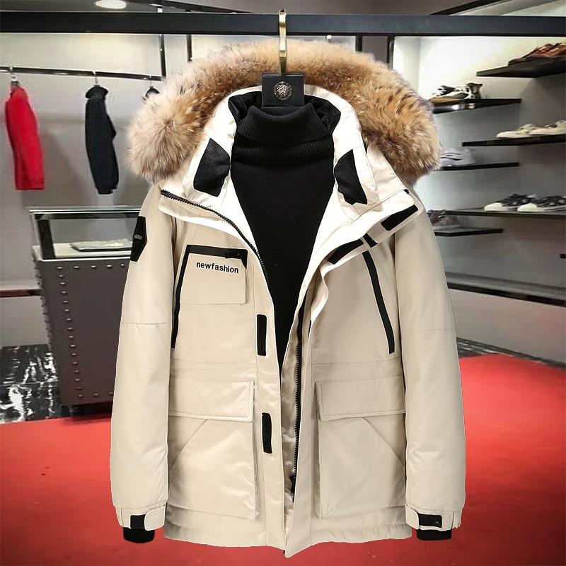 Gocgt Mens Hoodie Dow Jacket Trench Windproof Outerwear Coats Faux Fur Lined Warm Parka