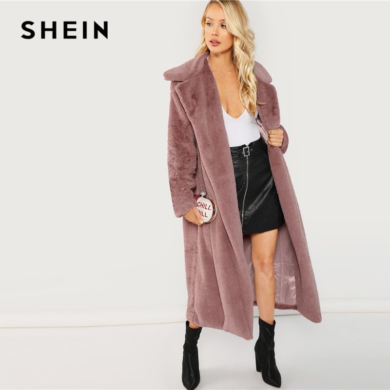 SHEIN Rosa Oficina señora elegante abierto frente largo piel sintética Teddy sólido abrigo 2018 otoño minimalista mujeres abrigos ropa de abrigo - 4