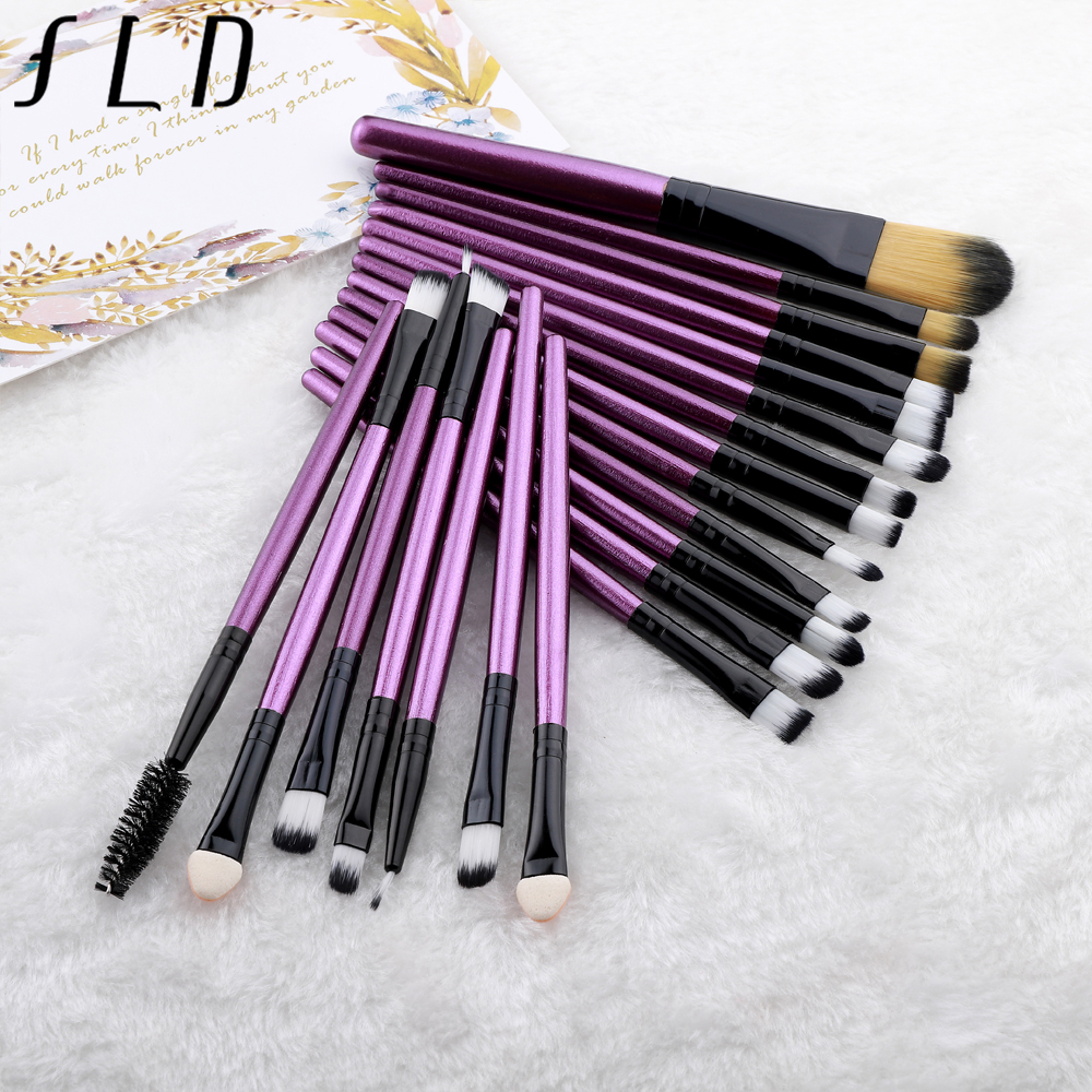 FLD 20 Pieces Makeup Brushes Set Eye Shadow Foundation Powder Eyeliner Eyelash Lip Make Up Brush Cosmetic Beauty Tool Kit 3