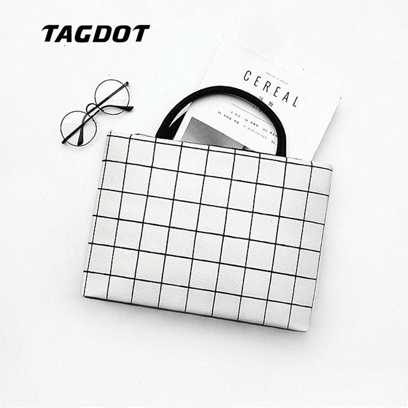 Tagdot Brand PU Leather Laptop bags for women 13.3 14 15.4 15.6 inch waterproof for macbook air 13 inch Black and white lattice