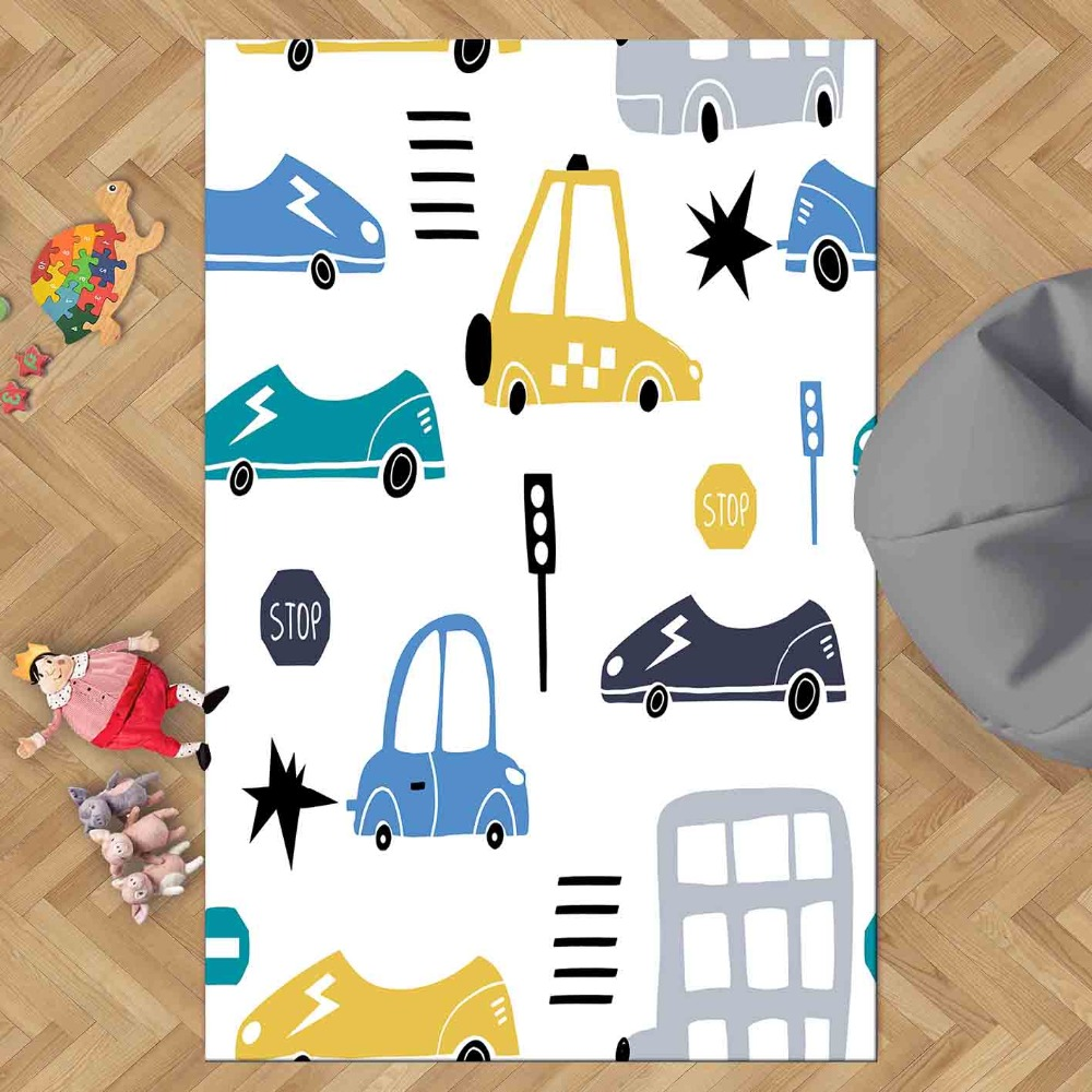 Else Blue Black Yellow Traffic Car Play Game 3d Print Non Slip Microfiber Children Kids Room Decorative Area Rug Kids  Mat