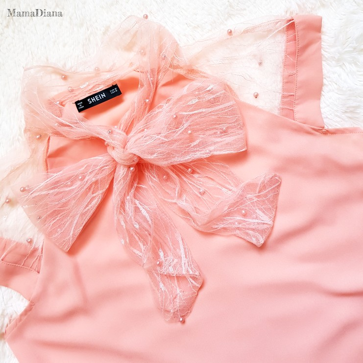 Sheinside жемчуг Бисер сетчатый топ Для женщин розовый связали шеи Кепки рукавом Стенд воротник блузки рубашка 2018 г. летняя элегантная рабочая одежда блузка