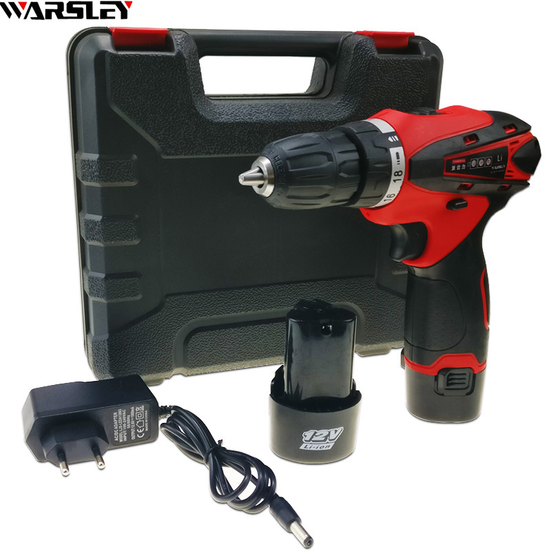 12V 2 Batteries Screwdriver electric Drill Cordless power tools Mini Drill battery packs for cordless drill Two-speed drill