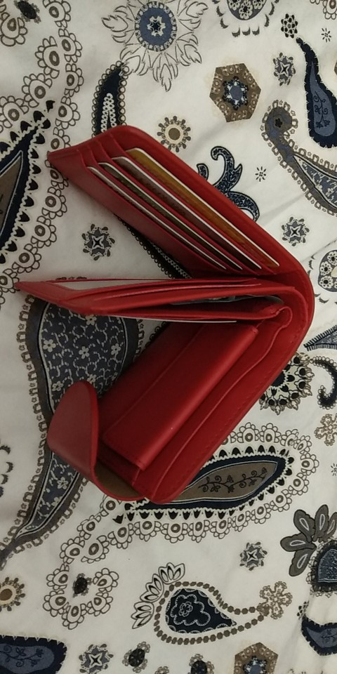Harrm's Brand Classical Fashion genuine leather women wallets short red blue Color lady Purse femal with coin pocket photo review